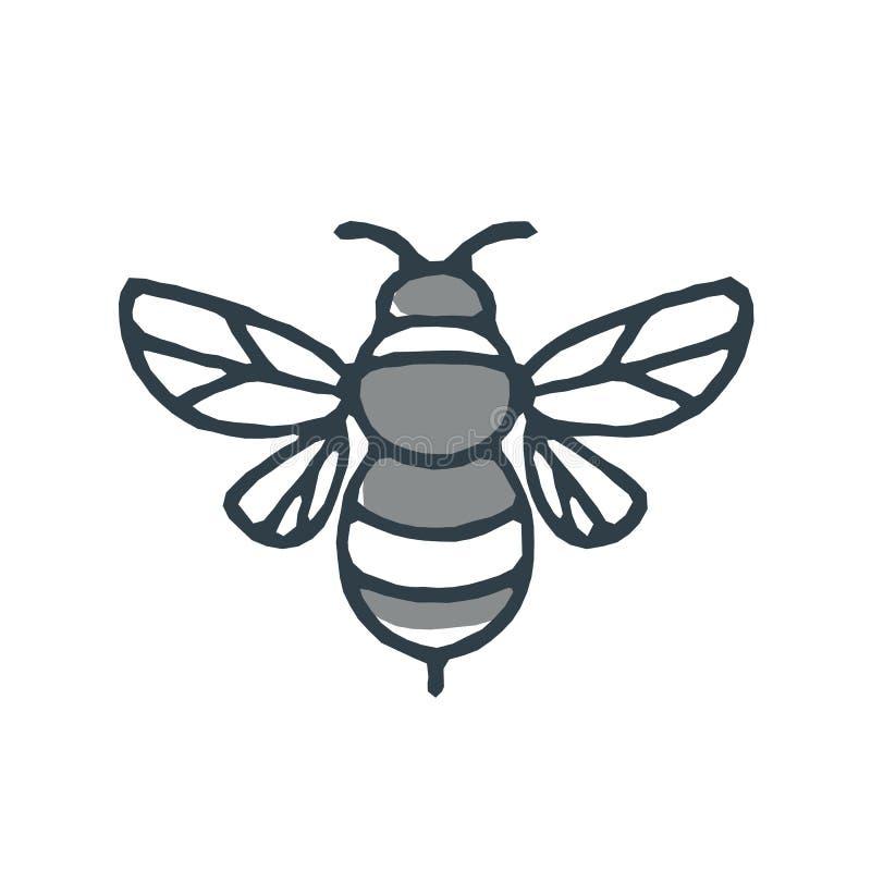 Значок пчелы шмеля иллюстрация вектора