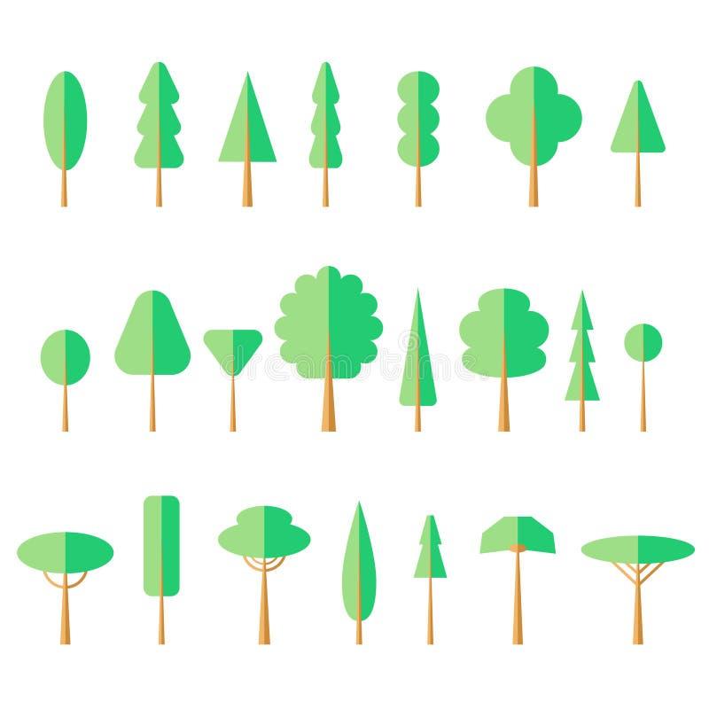 Значок плоского дерева установленный стоковые фото