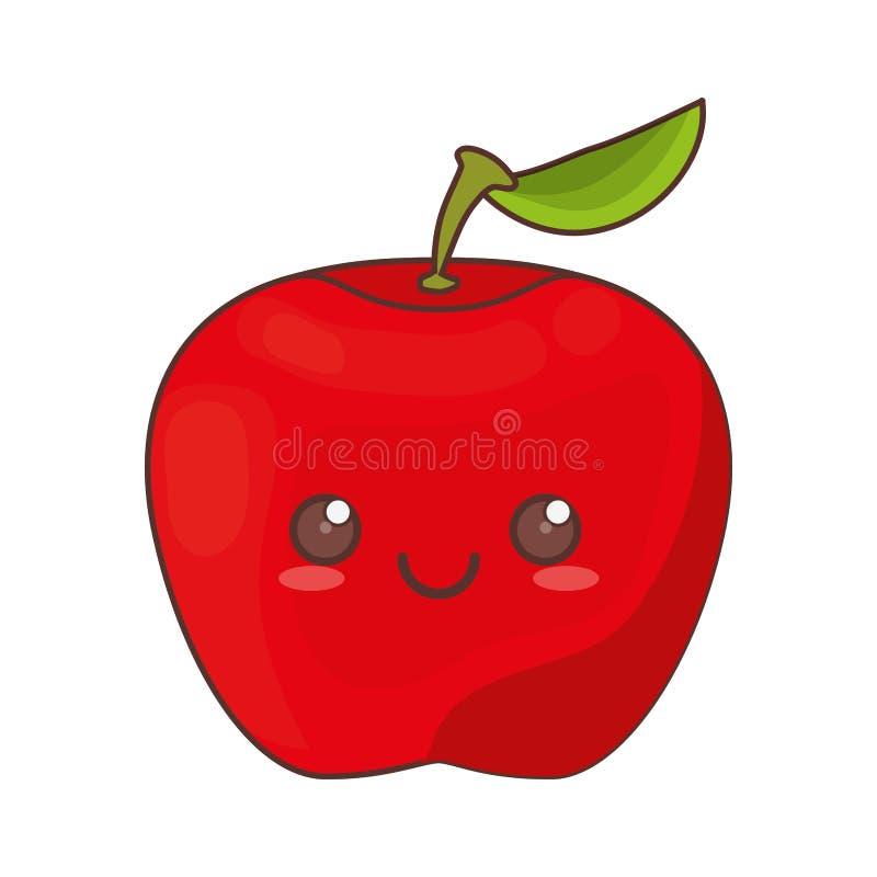 значок плодоовощ яблока kawaii иллюстрация штока