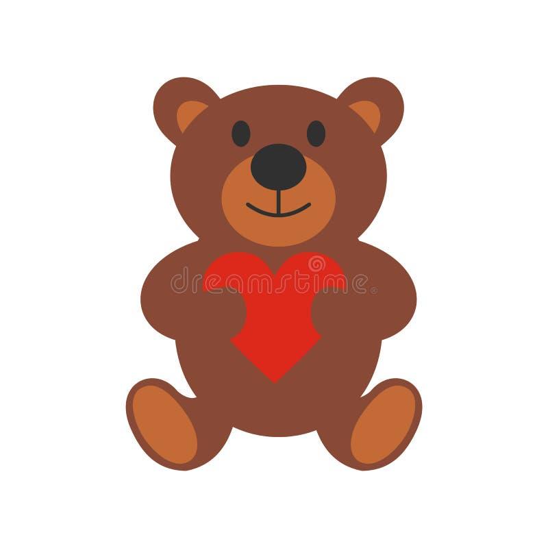 Значок плюшевого медвежонка плоский иллюстрация вектора