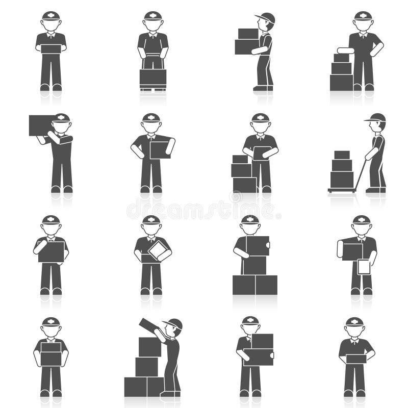 Значок работника доставляющего покупки на дом иллюстрация штока