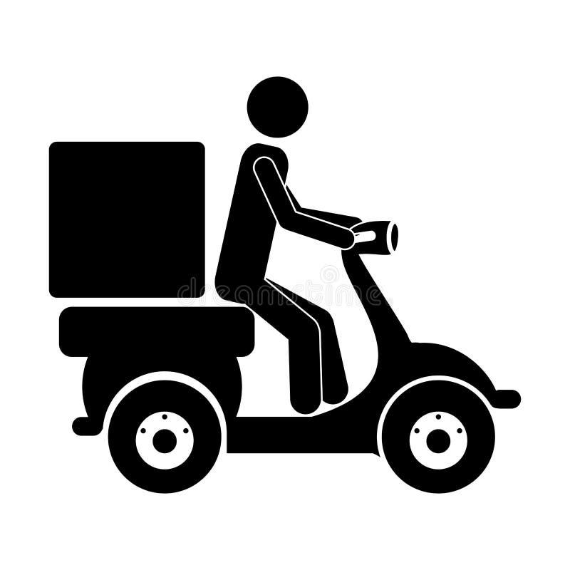 Значок работника доставляющего покупки на дом иллюстрация вектора