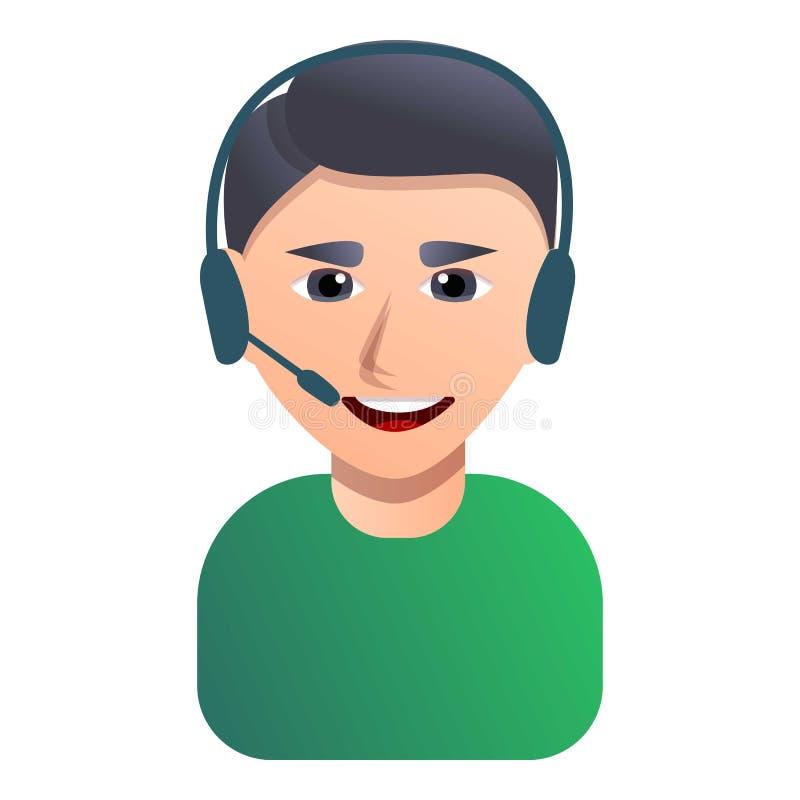 Значок работника центра телефонного обслуживания, стиль мультфильма иллюстрация штока