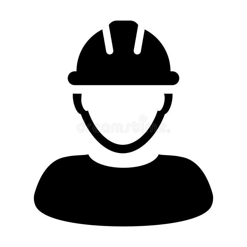 Значок рабочий-строителя - Vector иллюстрация воплощения профиля персоны иллюстрация штока