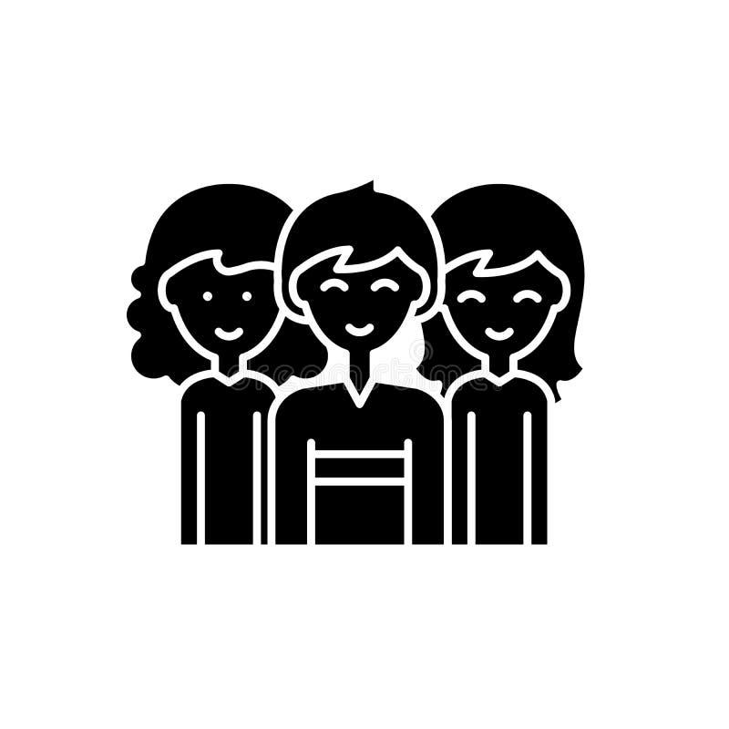 Значок равенства полов черный, знак вектора на изолированной предпосылке Символ концепции равенства полов, иллюстрация иллюстрация вектора