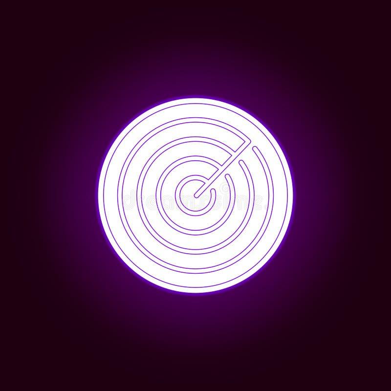 Значок радиолокатора в неоновом стиле Элемент войны, иллюстрации панцыря r Знаки и значок символов для иллюстрация вектора