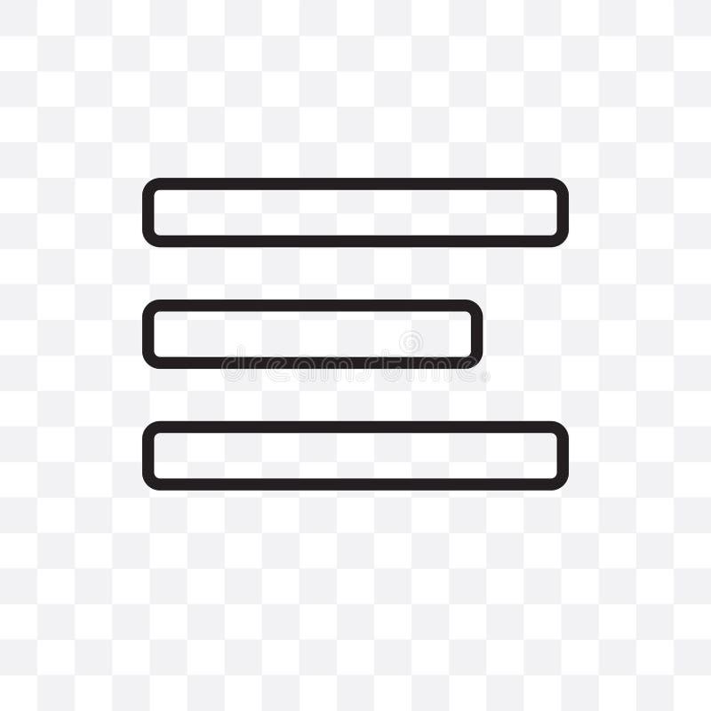 Значок разбивочного вектора выравнивания линейный изолированный на прозрачной предпосылке, разбивочная концепция транспарентности иллюстрация штока