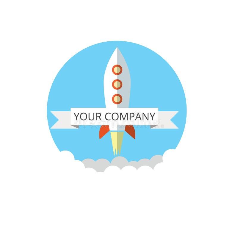 Значок Ракеты в плоском стиле Плоская ультрамодная ракета начинает вверх значок для графиков вебсайта, передвижных apps, дизайна  бесплатная иллюстрация