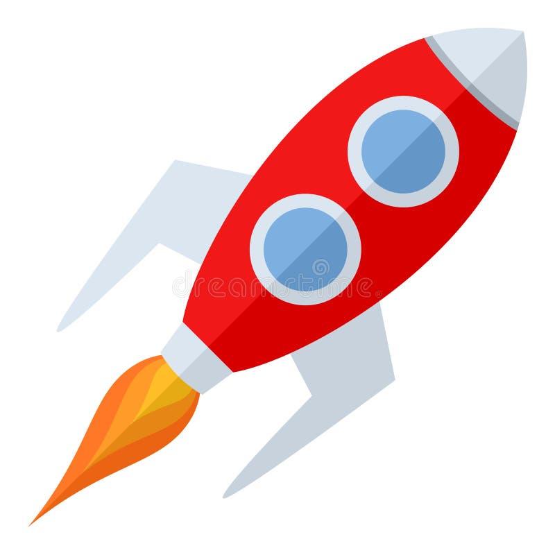 Значок Ракеты космоса плоский изолированный на белизне иллюстрация штока