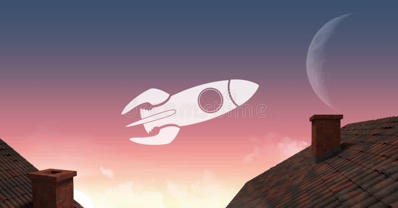 Значок Ракеты летая над крышами к луне бесплатная иллюстрация
