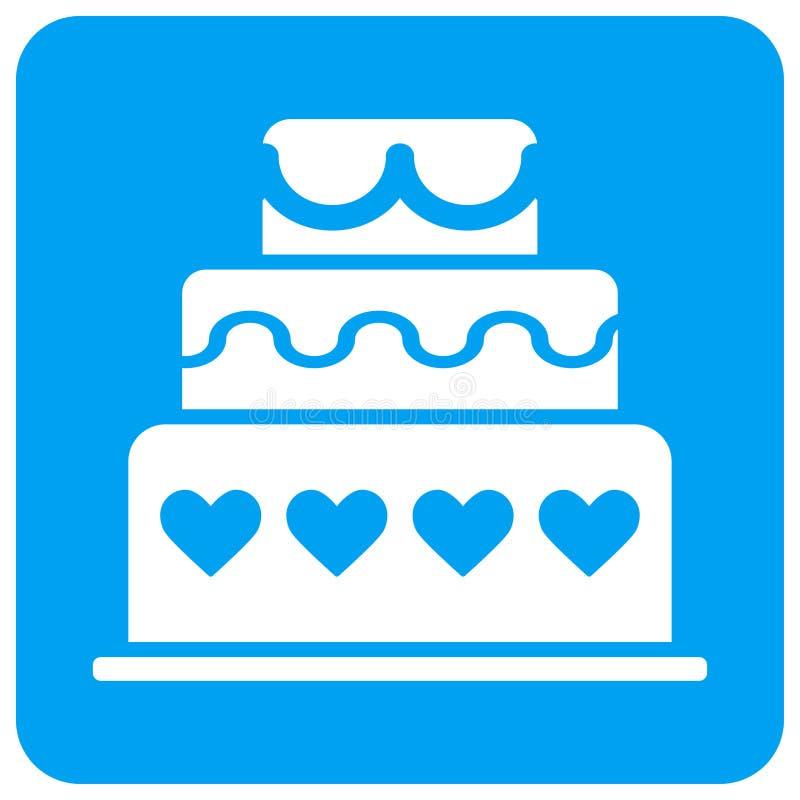 Значок растра замужества округленный тортом квадратный иллюстрация вектора