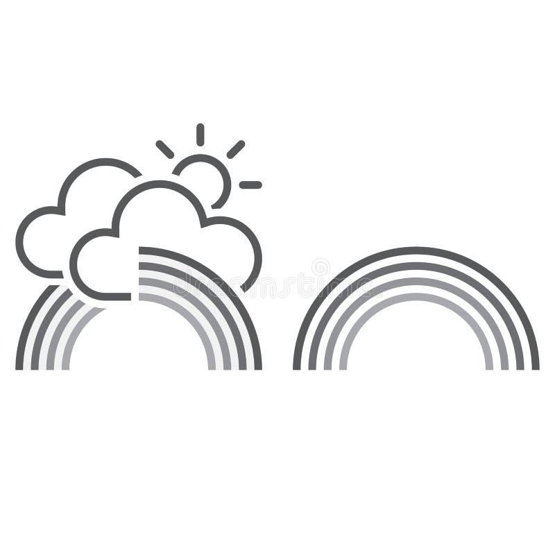 Значок радуги твердое тело и план иллюстрация штока