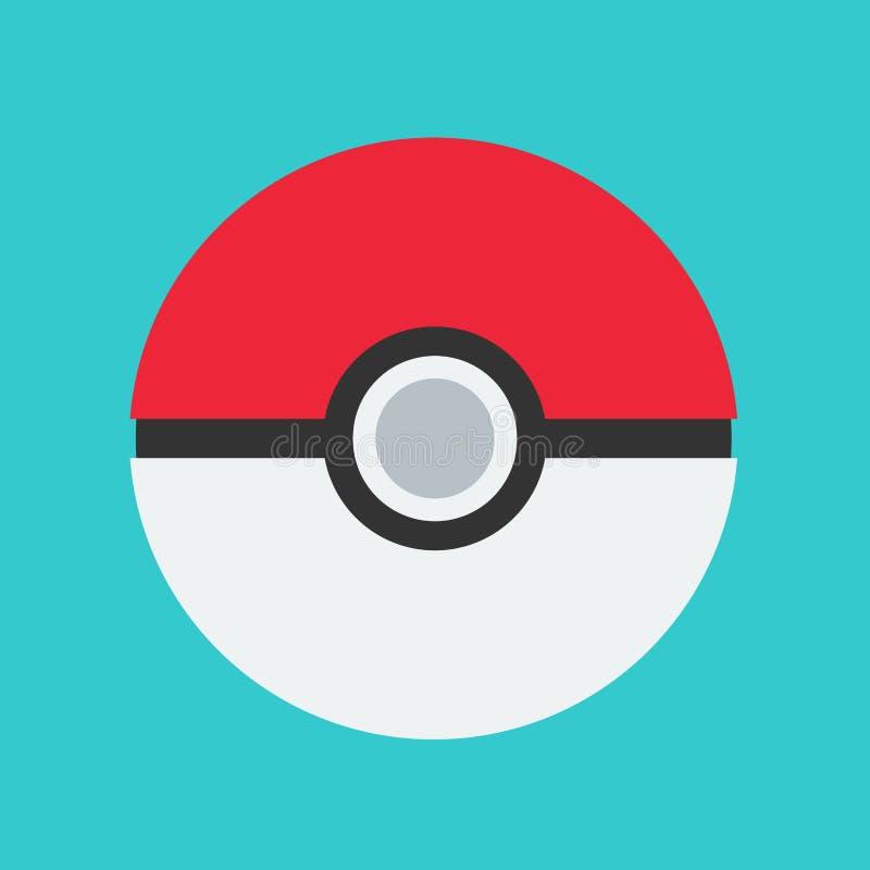Значок реальности элемента дизайна вектора pokemon игры Pokeball Изолированный мультфильм идет поиски онлайн бесплатная иллюстрация