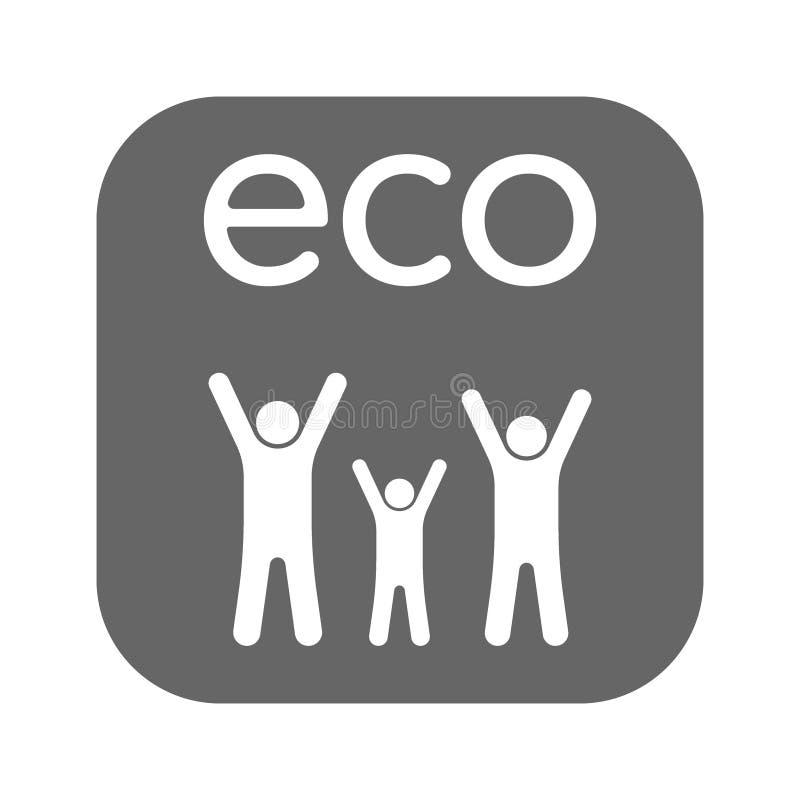 Значок ребенка семьи Плоский символ eco Пиктограмма изолирована на белой предпосылке Конструированный для сети и программных инте иллюстрация вектора