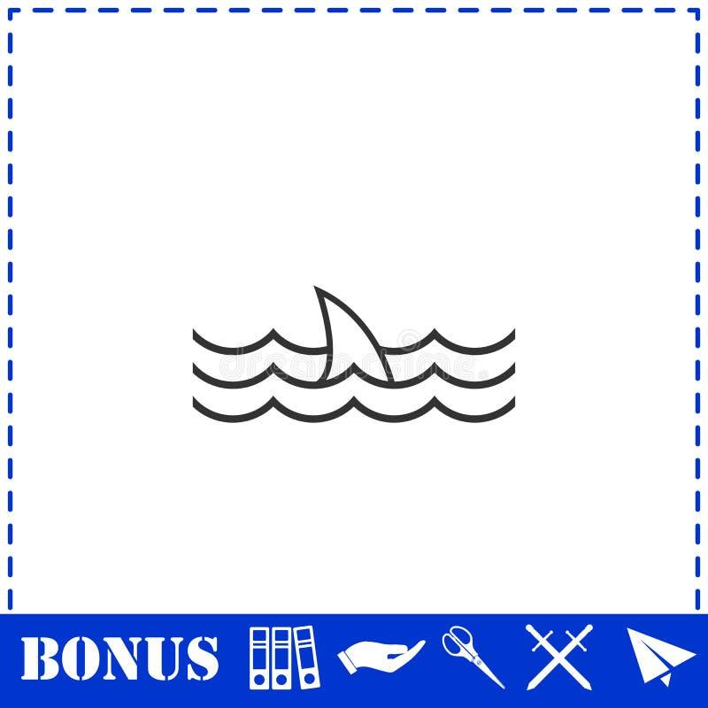Значок ребра акулы плоско иллюстрация вектора