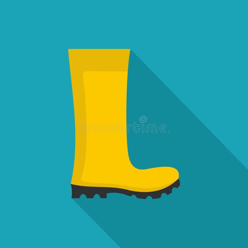 Значок резиновых ботинок плоский иллюстрация штока