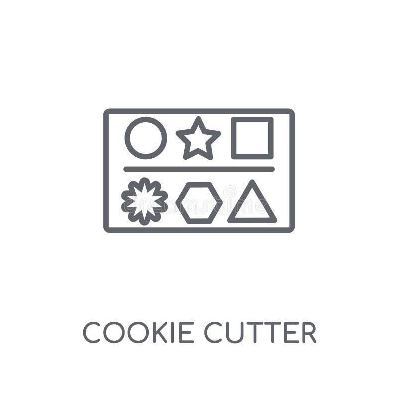 значок резца печенья линейный Современный жулик логотипа резца печенья плана иллюстрация штока