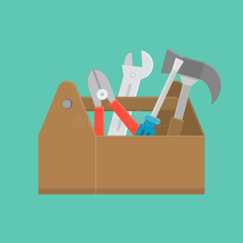 Значок резцовой коробки и оборудования, обслуживание и ремонтные услуги conc иллюстрация штока