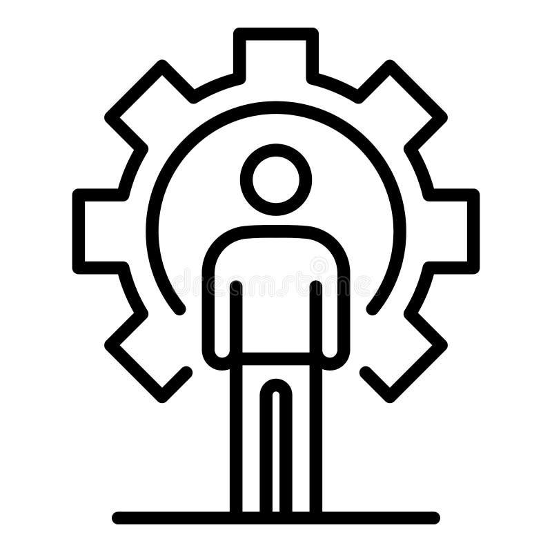 Значок рекрутства человека шестерни, стиль плана иллюстрация штока