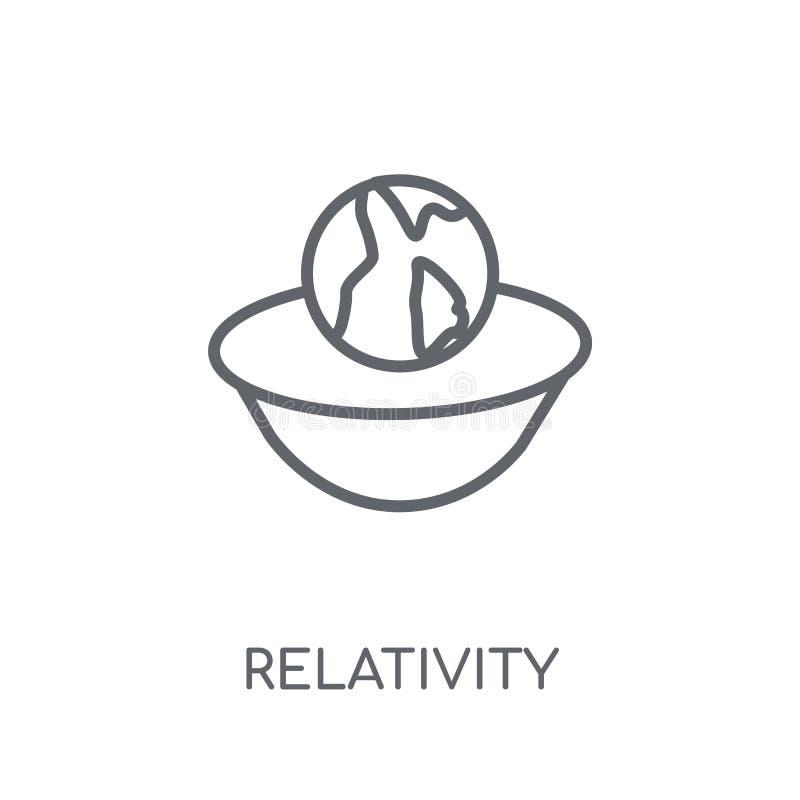 Значок релятивности линейный Современная концепция o логотипа релятивности плана иллюстрация вектора