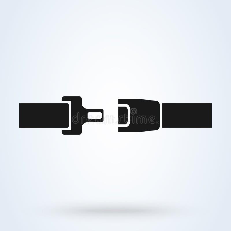 Значок ремня безопасности изолированный на белой предпосылке Безопасность движения на автомобиле, самолете также вектор иллюстрац иллюстрация вектора