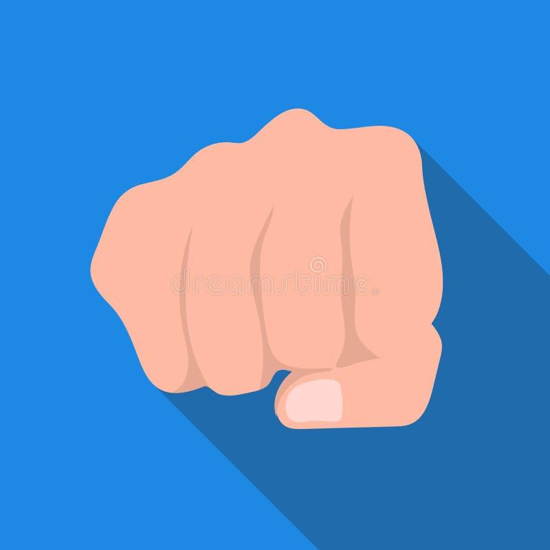 Значок рему кулака в плоском стиле изолированный на белой предпосылке Иллюстрация вектора запаса символа жестов рукой иллюстрация штока