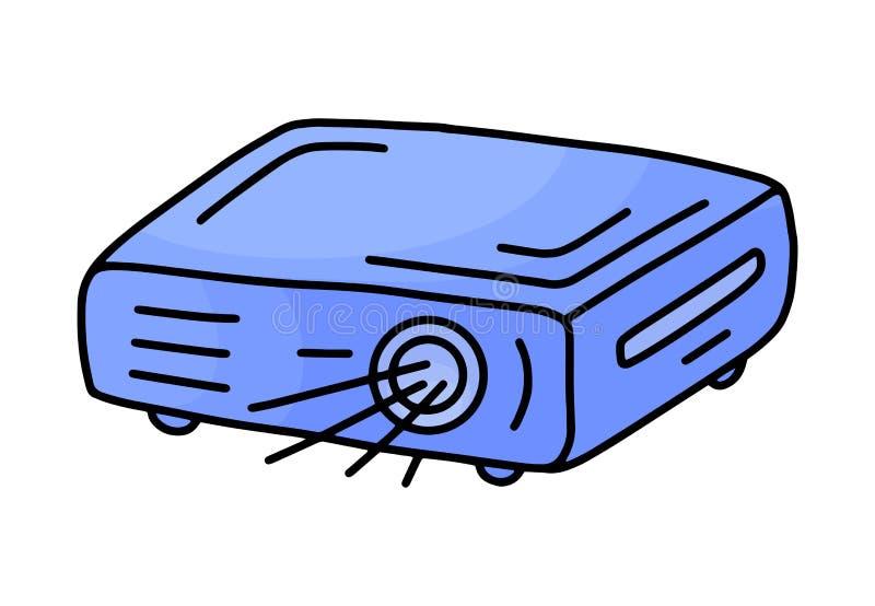 Значок репроектора руки вычерченный в стиле doodle Эскиз концепции дела руки вычерченный r иллюстрация вектора