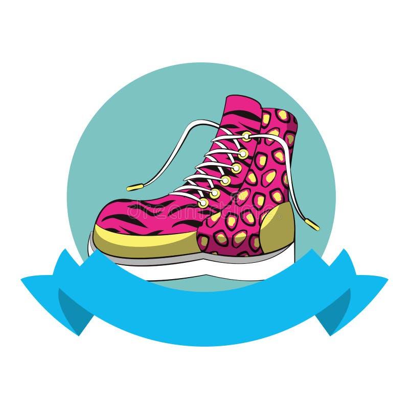 значок ретро ботинка женщин моды 90s круглый иллюстрация штока