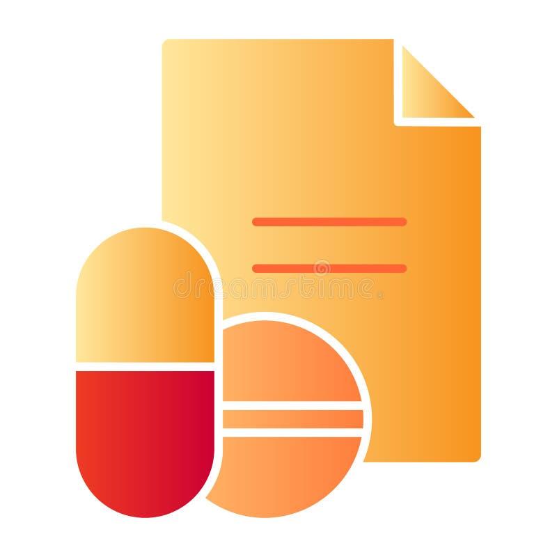 Значок рецепта лекарств плоский Значки цвета рецепта таблеток в ультрамодном плоском стиле Дизайн стиля градиента рецепта, констр иллюстрация вектора