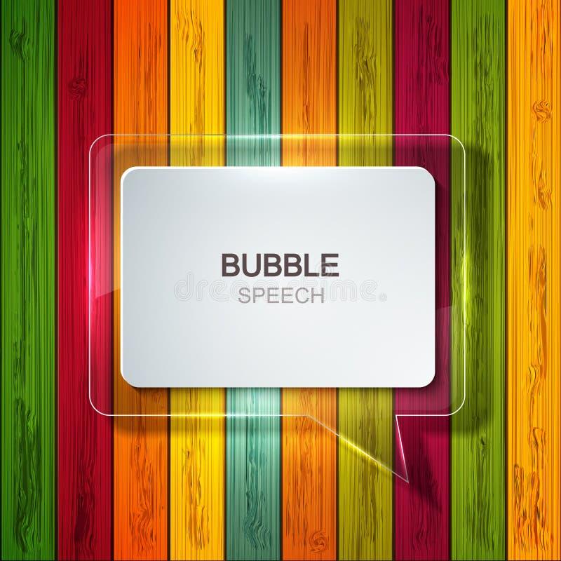 Значок речи пузыря вектора на деревянной предпосылке иллюстрация штока