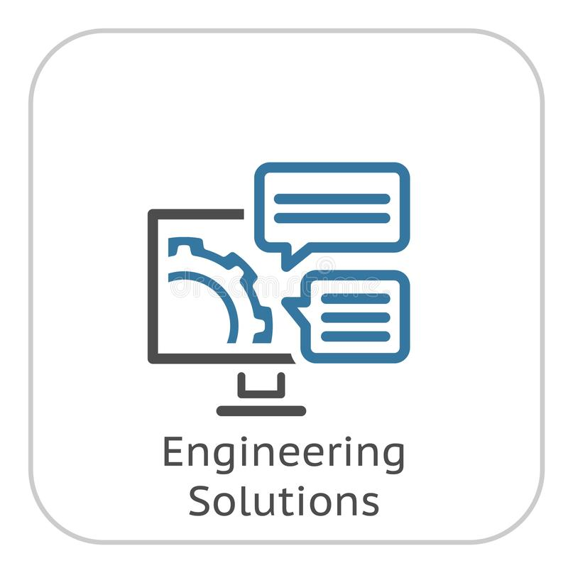 Значок решений инженерства Шестерня и компьютер Символ развития иллюстрация штока