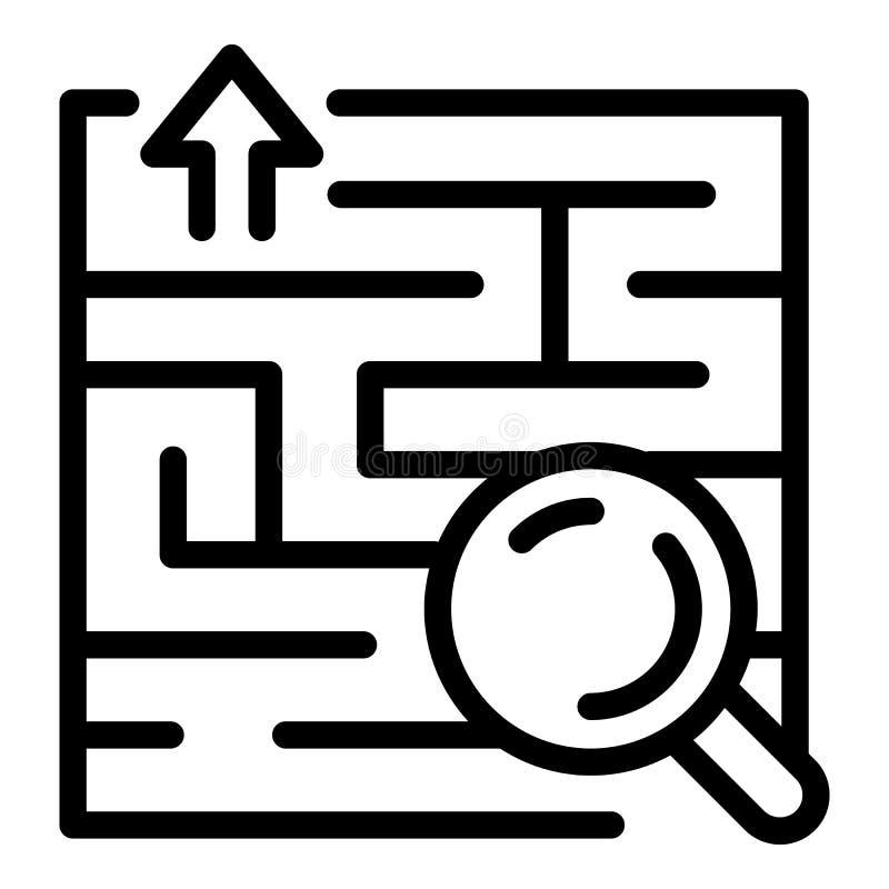 Значок решения находки, стиль плана иллюстрация вектора