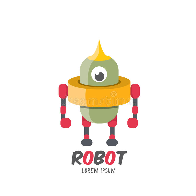 Значок робота шаржа вектора милый плоский бесплатная иллюстрация