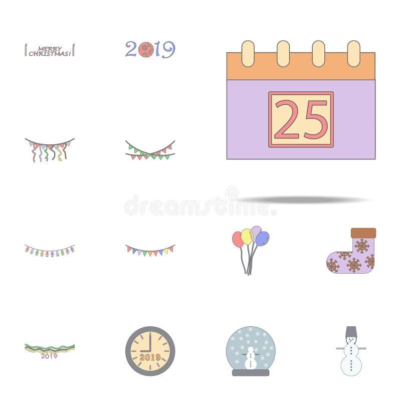 Значок рождества покрашенный календарем Набор значков праздника рождества всеобщий для сети и черни иллюстрация штока