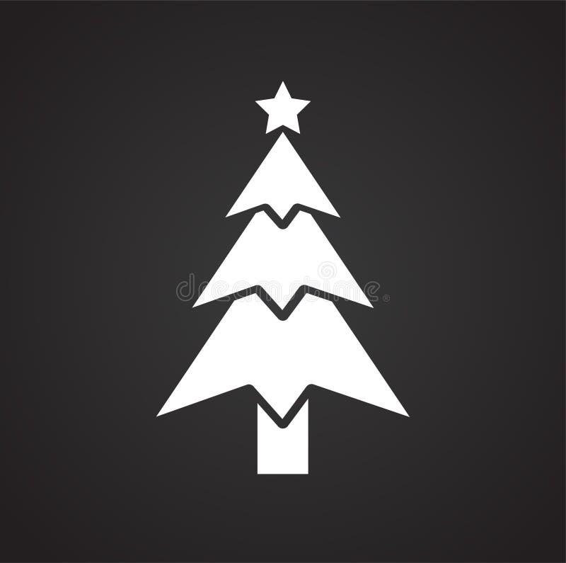 Значок рождественской елки на черной предпосылке для графика и веб-дизайна, современного простого знака вектора интернет принципи иллюстрация вектора
