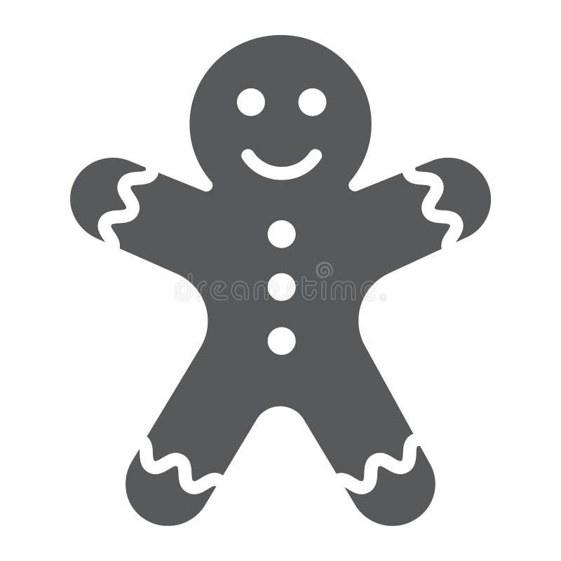 Значок, рождество и сладостное глифа человека пряника, знак печенья, векторные графики, твердая картина на белой предпосылке иллюстрация вектора