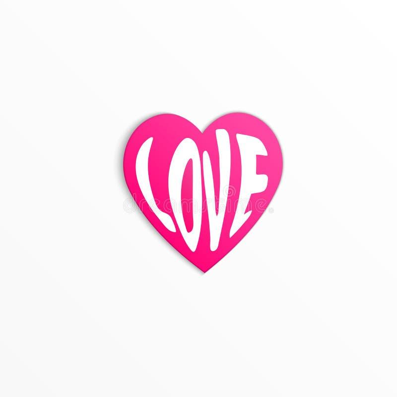 Значок розового красного сердца с любовью слова внутри изолированный на белой предпосылке иллюстрация штока
