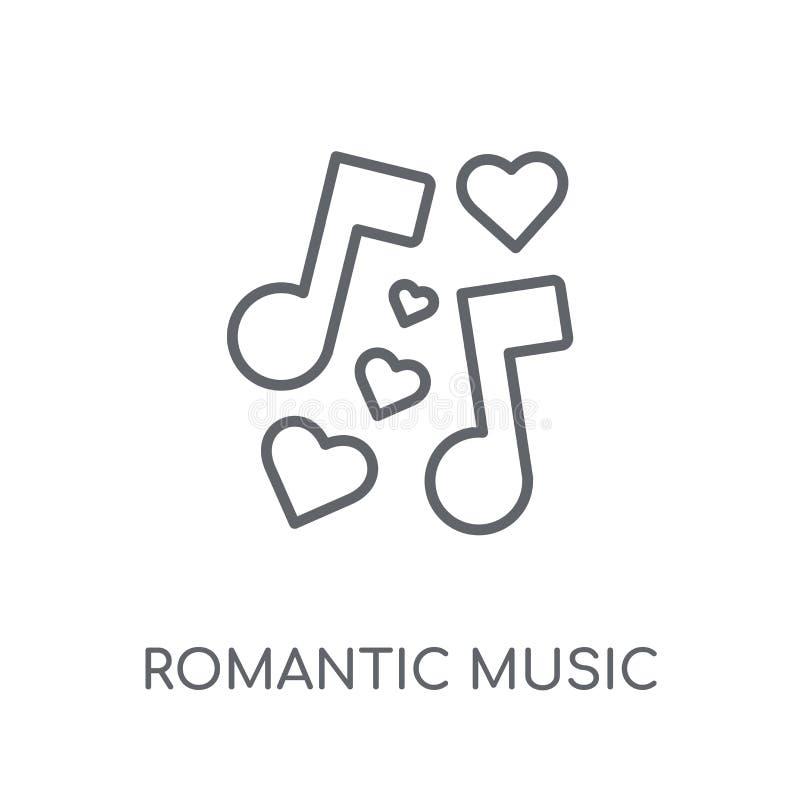 Значок романтичной музыки линейный Логотип c музыки современного плана романтичный иллюстрация вектора