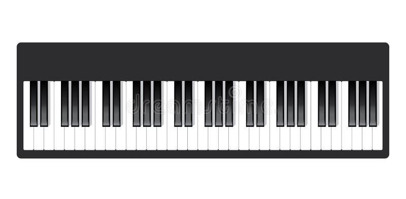 Значок рояля и ключи печати современной музыки концепции рояля и плаката рояля веб-дизайна на белом векторе иллюстрация вектора