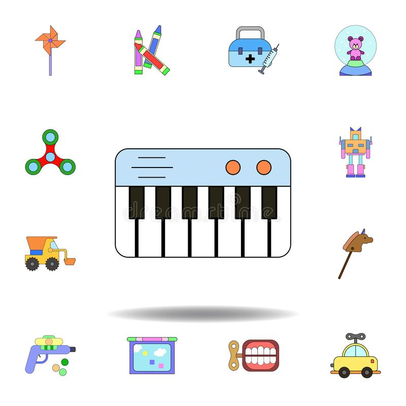 значок рояля мультфильма покрашенный игрушкой установите значков иллюстрации игрушек детей знаки, символы можно использовать для  бесплатная иллюстрация
