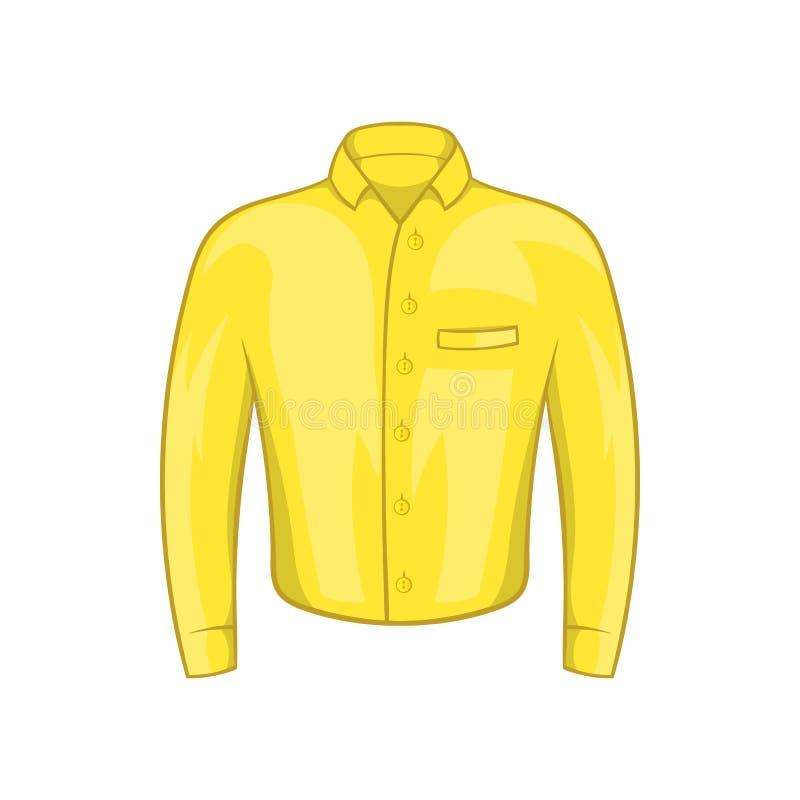 Значок рубашки желтого человека, стиль шаржа иллюстрация штока