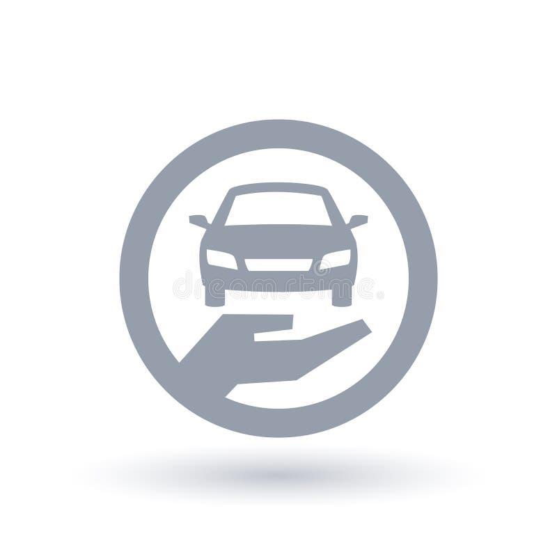 Значок руки автомобиля - символ страхования моторного транспорта иллюстрация вектора