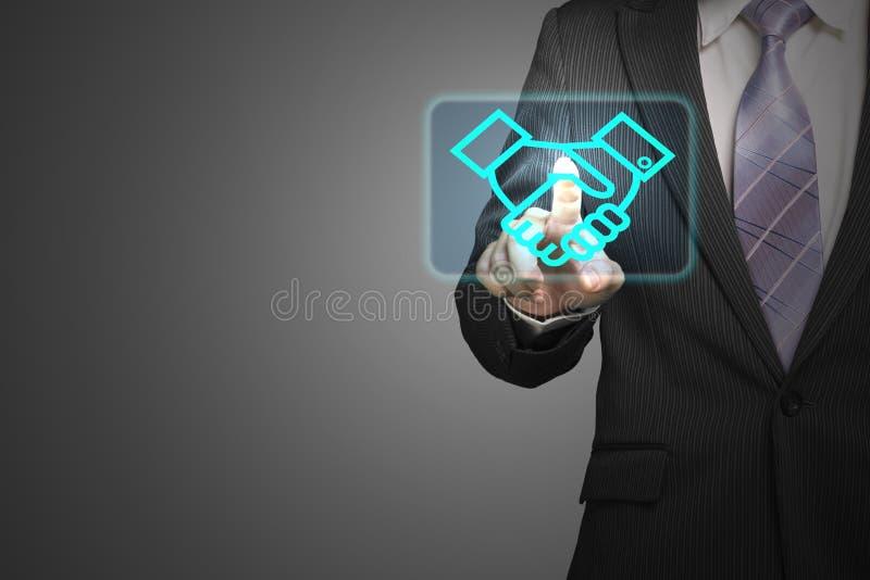 Значок руки встряхивания касания бизнесмена в космосе, деле через интернет, o иллюстрация штока