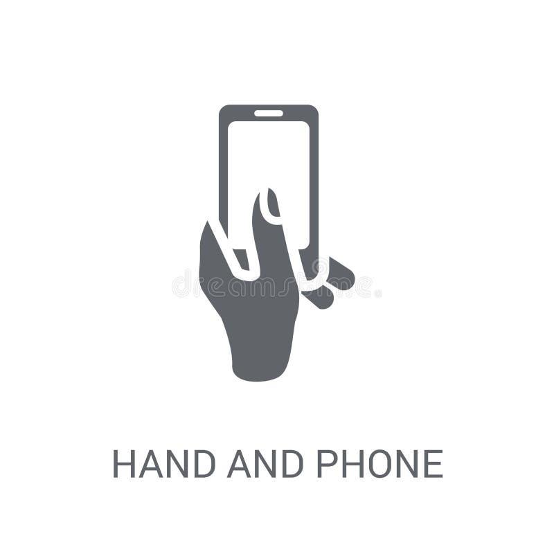 Значок руки и телефона Концепция ультрамодного логотипа руки и телефона на белизне иллюстрация штока