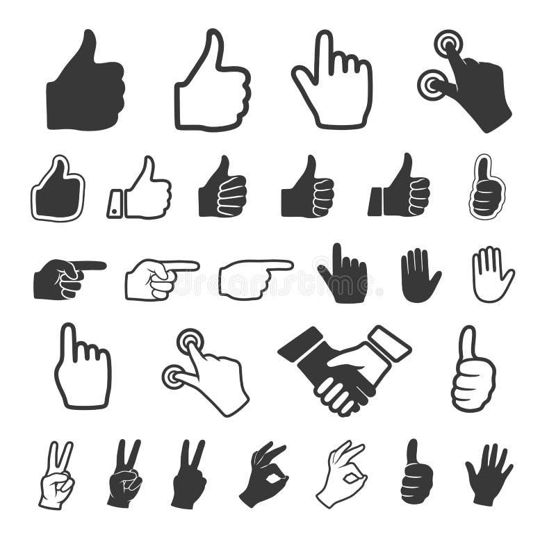 Значок руки. Комплект вектора. бесплатная иллюстрация