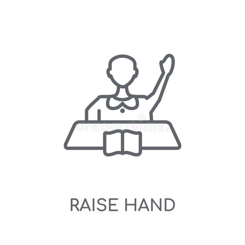 Значок руки повышения линейный Современная концепция o логотипа руки повышения плана иллюстрация штока