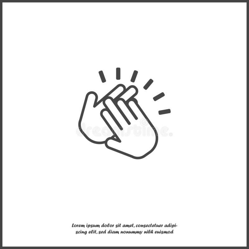 Значок рукоплескания Символ хлопать Поток операций иллюстрации дела на белой изолированной предпосылке иллюстрация штока