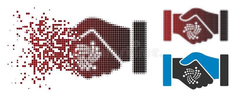 Значок рукопожатия контракта Iota полутонового изображения точки пыли иллюстрация штока