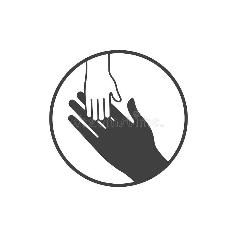 Значок рук младенца и матери, черно-белый иллюстрация вектора