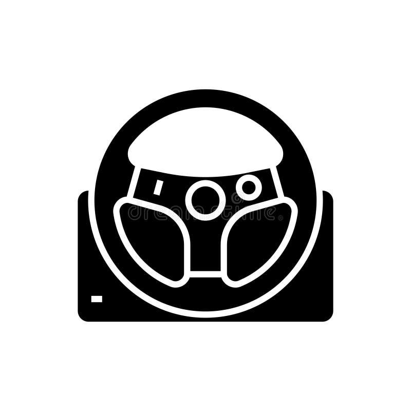 Значок рулевого колеса игры, иллюстрация вектора, черный знак на изолированной предпосылке иллюстрация вектора